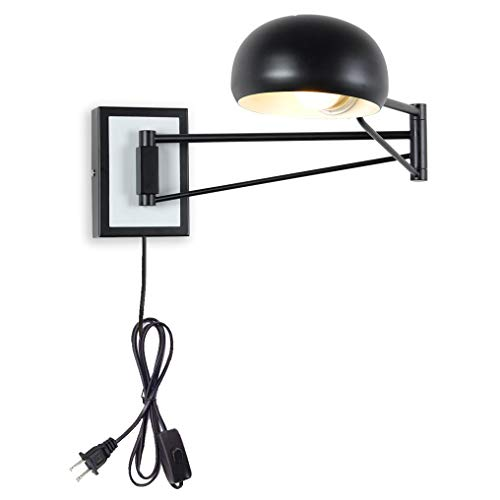 Wall Sconce Plug in Bedroom Light Black sconces Wall Reading Lighting Swing arm Wall lamp Industrial Metal Wall Mounted Light Fixture UL Listed ... (Medium)