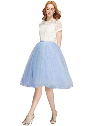 BESILA - Falda de tul estilo 50s retro vintage, midi, para disfraz azul celeste