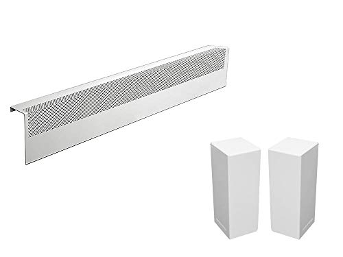 3' Base - Basic Series Galvanized Steel Easy Slip-On Baseboard Heater Cover in White (3 ft, Cover + L&R End Caps)