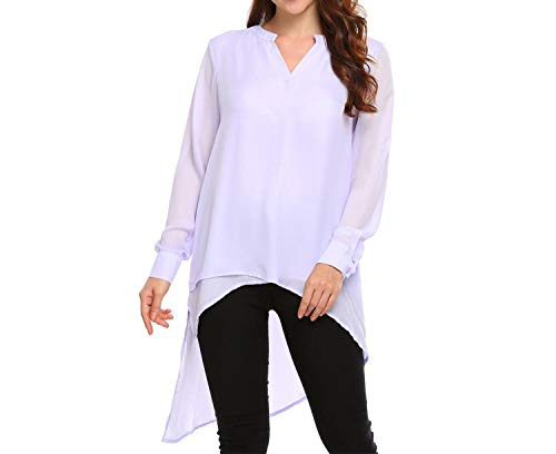 Chiffon Shirt Autumn Loose Casual Long Sleeve V Neck Solid Women High-Low,Light Purple,XL,China