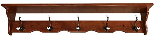 Wood Coat Rack Shelf Wall Mounted, Traditional, 5 Hook, Cherry Wood, Contact Us With Your Stain or Paint Choice, Custom Available