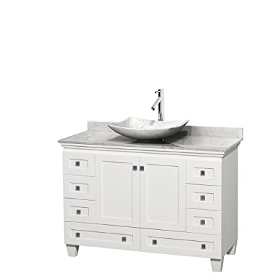 "Wyndham Collection Acclaim 48 inch Single Bathroom Vanity in White, White Carrara Marble Countertop, Arista White Carrara Marble Sink, and No Mirror - Constructed of environmentally friendly, zero emissions solid Oak hardwood, engineered to prevent warping and last a lifetime. 12-stage wood preparation, sanding, painting and hand-finishing process. Highly water-resistant low V.O.C. sealed finish. Cutting edge, unique styling by Interior Designer Christopher Grubb. Practical Floor-Standing Design. Minimal assembly required. Deep Doweled Drawers. Fully-extending under-mount soft-close drawer slides. Concealed soft-close door hinges. Metal exterior hardware with brushed chrome finish. Plenty of storage space. Two (2) functional doors. Eight (8) functional drawers. Faucet(s) not included. 3"" backsplash. - bathroom-vanities, bathroom-fixtures-hardware, bathroom - 31jnJbPeUBL. SS400  -"