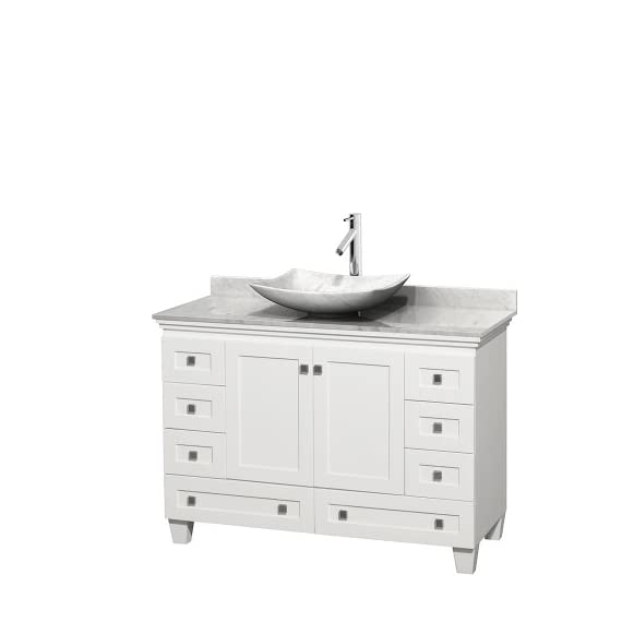 "Wyndham Collection Acclaim 48 inch Single Bathroom Vanity in White, White Carrara Marble Countertop, Arista White… - Constructed of environmentally friendly, zero emissions solid Oak hardwood, engineered to prevent warping and last a lifetime. 12-stage wood preparation, sanding, painting and hand-finishing process. Highly water-resistant low V.O.C. sealed finish. Cutting edge, unique styling by Interior Designer Christopher Grubb. Practical Floor-Standing Design. Minimal assembly required. Deep Doweled Drawers. Fully-extending under-mount soft-close drawer slides. Concealed soft-close door hinges. Metal exterior hardware with brushed chrome finish. Plenty of storage space. Two (2) functional doors. Eight (8) functional drawers. Faucet(s) not included. 3"" backsplash. - bathroom-vanities, bathroom-fixtures-hardware, bathroom - 31jnJbPeUBL. SS570  -"