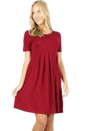 Women's Pleated Swing Dress Short Sleeve Casual T Shirt Loose Dress with Pockets - Cabernet (Large)
