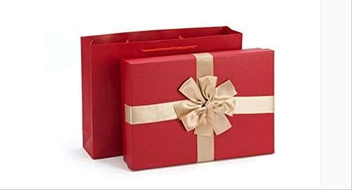 Caja de regalo roja Exquisita bufanda rectangular grande Juego de ...