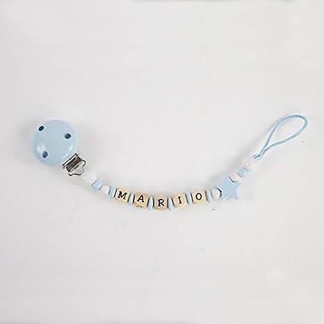 Cadena sujetachupetes de madera personalizada para bebé, azul-estrella. Portachupetes con nombre: Amazon.es: Bebé