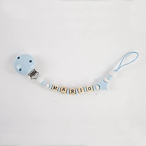 Cadena sujetachupetes de madera personalizada para bebé, azul ...