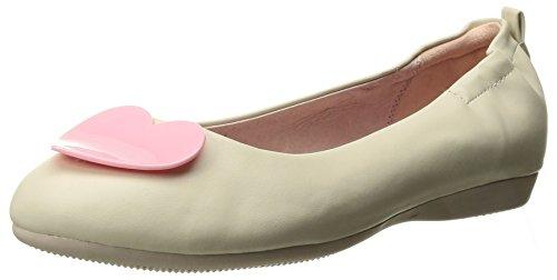 Olive-05 faltbare Ballerina mit elastischer Ferse und rosa Herz Detail Creme - Vintage Rockabilly - (38 EU = US 8) - Pin Up Couture