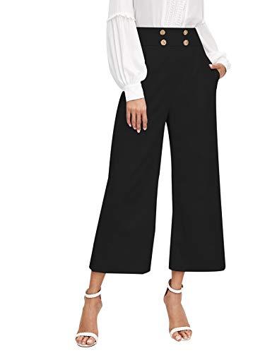 DIDK Women's Solid Double Breasted Slant Pocket Wide Leg Zipper Crop Pants Black_1 Medium