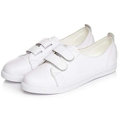 ZHZNVX Zapatos de Mujer Nappa Leather Spring/Summer Comfort Sneakers Flat Heel Cerrado del Dedo del pie Blanco/Negro White