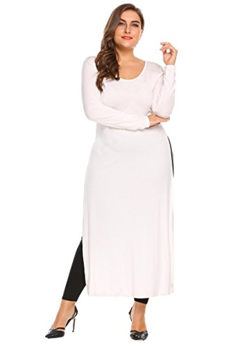 Plus Size Women Sexy High Side Split Long Sleeve Crewneck Clubwear Party Maxi Dress Tops (Extra Long Plus Size Maxi Dresses)