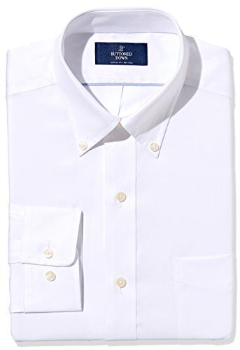 Buttoned Down Men's Non-Iron Classic Fit Pinpoint Button Collar Dress Shirt, White, 18