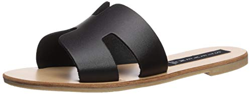 STEVEN by Steve Madden Women's Greece Flat Sandal, Black Leather, 7.5 M US