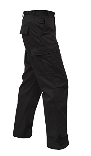 Military BDU Pants, Army Cargo Fatigues (Black, Size Small)