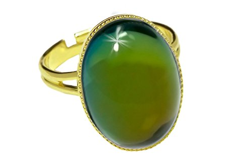 24K Gold Plated Classic Ring Universal Adjustable Size Oval 18mm x 13mm Dark Green Vitrail Rainbow Czech Glass Stone Handmade BohemStyle ()
