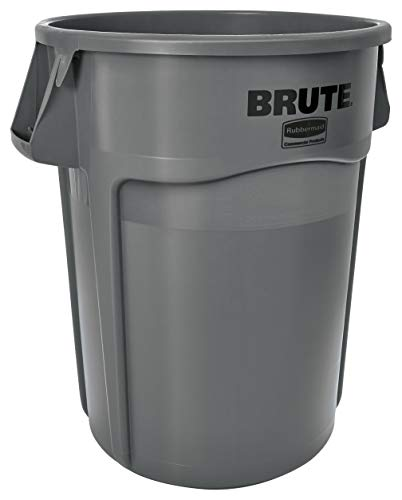 Rubbermaid Commercial Products FG265500GRAY BRUTE Heavy-Duty Round Trash/Garbage Can, 55-Gallon, Gray