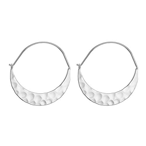 Crescent Hoop - Crescent Hoop Earrings Hammered Surface Crescent Moon Round Circle Earrings for Women,Sliver Jewelry