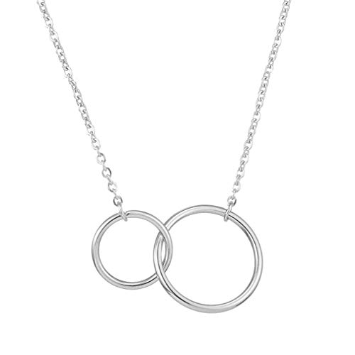 jiana Stainless Steel Two Circle Necklace for Women Double Rings Interlocking Circles Infinity Linked Rings Generation Best Friendship Pendant Necklace,Silver (Two Ring Circles)