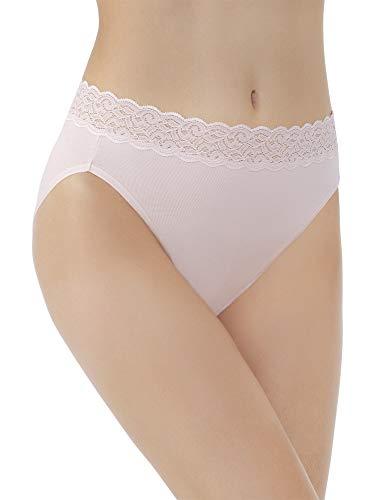 (Vanity Fair Women's Flattering Lace Cotton Stretch Hi Cut Panty 13395, Sheer Quartz, X-Large/8)