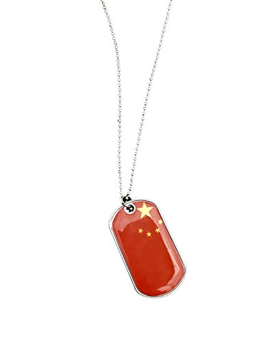 International Charms Dog Tags of the World Chinese Flag Stainless Steel Necklace Olympic & FIFA Pendant and Key Ring (China) (Communist Ornaments Christmas)