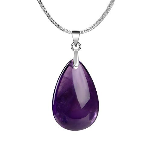 iSTONE 925 Sterling Silver Natural Gemstone Amethyst Watr Drop Shape Ladies Pendant Necklace, Gemstone Birthstone with 18