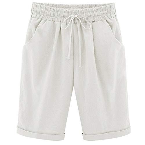 XinDao Women's Outdoor Drawstring Elastic Waist Casual Comfy Bermuda Plus Size Hiking Shorts White US 3XL/Asia 8XL