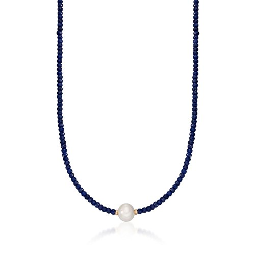 Ross-Simons 78.00 ct. t.w. Sapphire Bead and 12-13mm Cultured Pearl Necklace With 14kt Yellow Gold