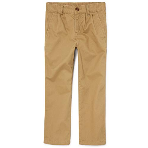 The Children's Place Big Boys' Pleated Chino Pants, Flax, 16H