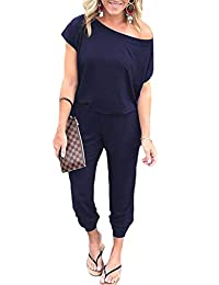 Assivia Womens Off Shoulder Short Sleeve Elastic Waist Jumpsuit Rompers with Pockets