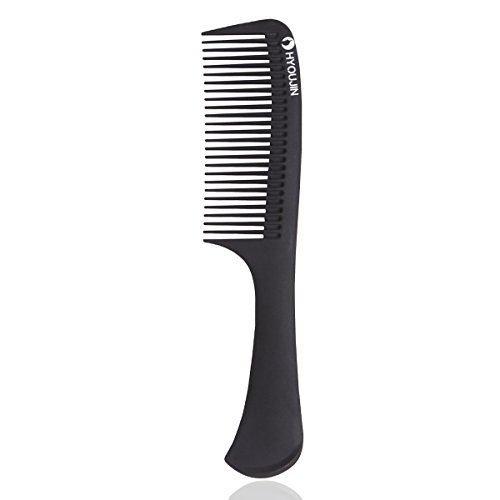 HYOUJIN616 Black Carbon Detangling Hair Brush, Paddle Hair Comb, Care Handgrip Comb-Best Styling Comb for Long, Wet or Curly Hair-Improve Blood Circulation, Reduce Hair Loss and Dandruff