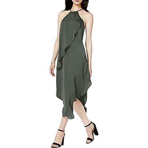 bar III Womens Draped Assymetrical Casual Dress Green L from Bar III