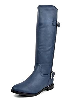 DREAM PAIRS FLEXFIT Women's Casual Elastic Stretch Calf Riding Knee High Side Zipper Boots DARK BLUE-SZ-5