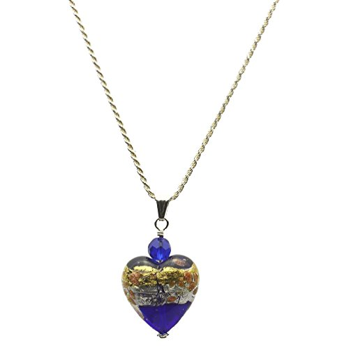 Blue Murano-style Glass Heart Pendant Sterling Silver Diamond-Cut Rope Chain Necklace 24