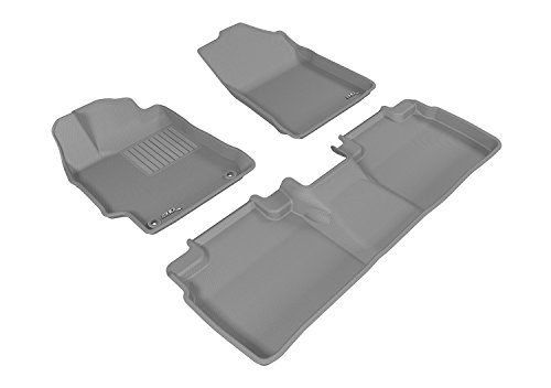 3D MAXpider Complete Set Custom Fit All-Weather Floor Mat for Select Toyota Camry/Camry Hybrid Models - Kagu Rubber (Gray)