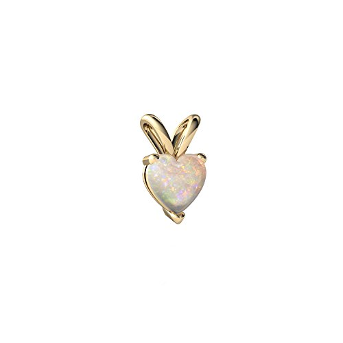14kt Yellow Gold Opal 5mm Heart Solitaire Pendant