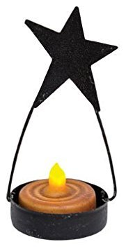 Black Tin Folk Art Star Tealight Candle Holder Country Primitive Décor ()