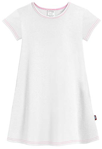 City Threads Little Girls' Cotton Short Sleeve Cover Up Dress for Sensitive Skin SPD Sensory Friendly, White, 6 Cotton Lightweight Cover Up