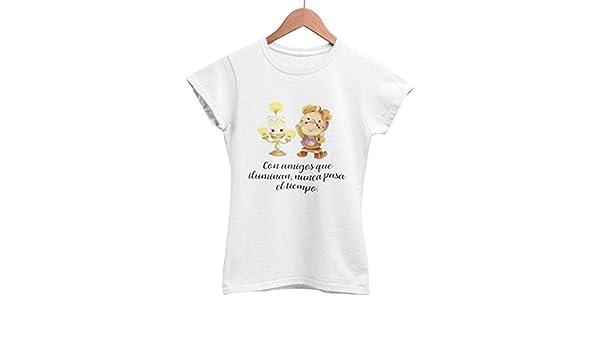 Camiseta frase original Bella y bestia Lumiére Ding dong amigas: Amazon.es: Handmade