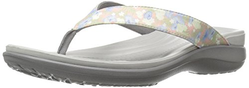 crocs Women's Capri V Graphic W Flip Flop, Floral/Light Grey, 6 M US (Croc Pattern Leather)