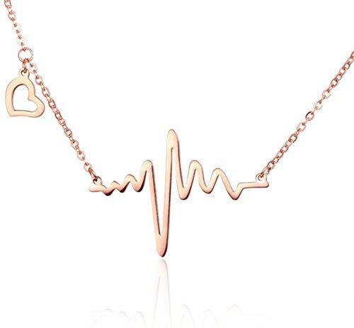 - WaMLFac 18k Rose Gold Plated Titanium Steel Heartbeat Love Cardiogram ECG Pendant Necklace 16 Inch