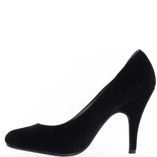 Scarpe nere con tacchi di 10cm aspetto scamosciato