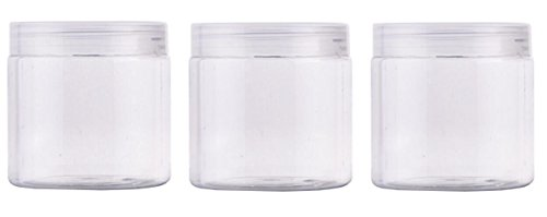 3PCS Clear PET Plastic Empty Jar Bottles With Screw Lid Samp