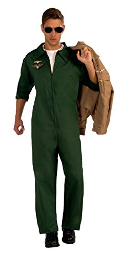 Flight Suit Halloween Costumes (Forum Novelties Men's Aviator Jumpsuit Pilot Costume, Green, One Size)