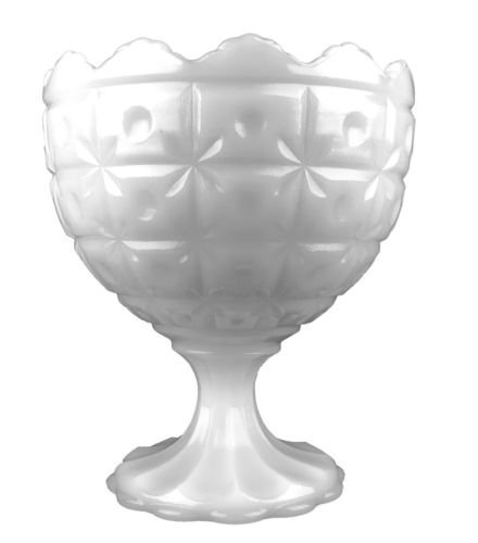 Vintage Napco 1185 Milkglass Star & Block Pattern Pedestal Compote Candy ()
