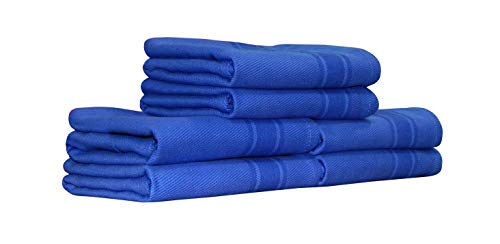 Tiny Break Kitchen Towel 17 x 27 inch, 100% Cotton, Blue with Dark Blue Stripe, Absorbent & Quick Dry Tea Towels, Pack of 6