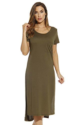 Just Love 401543-OLV-3X Modal T-Shirt Dress/Dresses for Women Olive