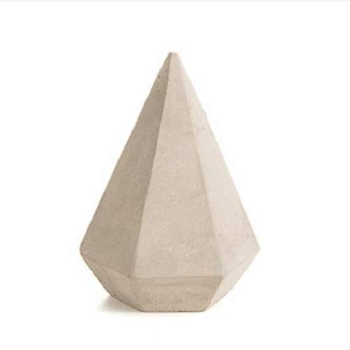 Faceted Cone - Large Concrete Ring Faceted Pyramid Cone for Jewelry Storage and Organization