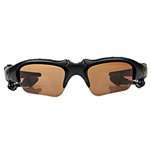 MonkeyJack Sports Bluetooth Sunglasses with Polarized Lens Smart Wireless Stereo MP3 Music Hand-free Headset Headphones with Microphone for Cycling Riding Running Hiker Brown