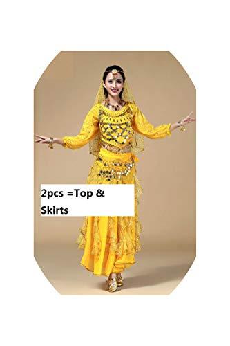 Belly Dance Costume Set Bra Skirt Top Oriental Bollywood Dance Bellydance Dress,Brown,One -