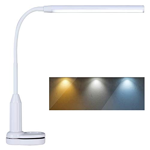 Psiven LED Desk Lamp, Clamp on Desk Light, Eye-Caring Gooseneck Clip on Light, 3 Color Modes, Stepless Dimming - Highly Adjustable Clamp Task Lamp/Table Lamp for Reading, Sewing, Drafting, Office
